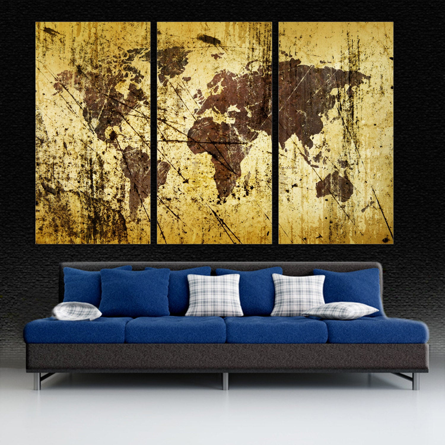 3 panel split abstract world map canvas print 1 5 deep for Interior wall art