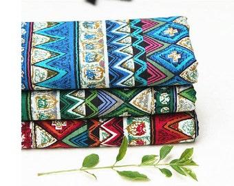 Bohemian style linen Cotton Fabric printed linen cotton fabric wave flower linen fabric bag/Purse /fashion Fabric/ curtain fabric- 1/2 Yard