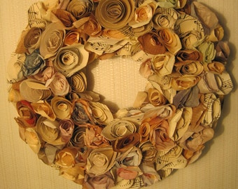 Paper rose wreath, vintage wrapping paper wreath, 100% recycled vintage paper home decor