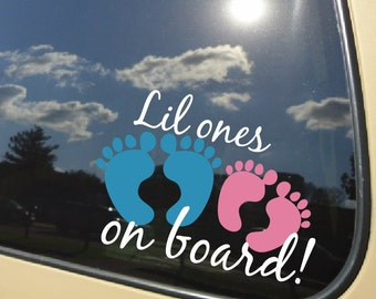 """Lil ones on board, babies, Car decal 5"""" wide"""