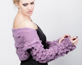 Purple Women Bolero Avant Garde Shrug Long Sleeves Bolero Chunky Knit Jacket