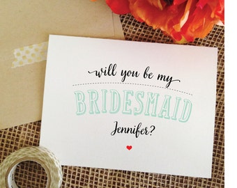 Set of 7 MINT Wedding Will you be my bridesmaid card personalized bridesmaid wedding invitation
