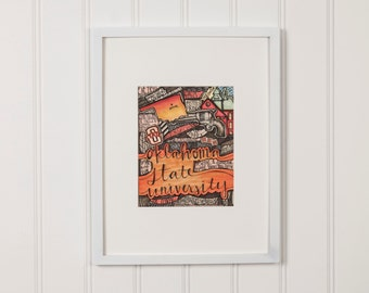 Oklahoma State University Pen and Ink Drawing - PRINT