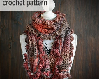 CROCHET PATTERN - Crochet scarf with ruffles, wool shawl, winter accessories, diagrams, crochet tutorial,