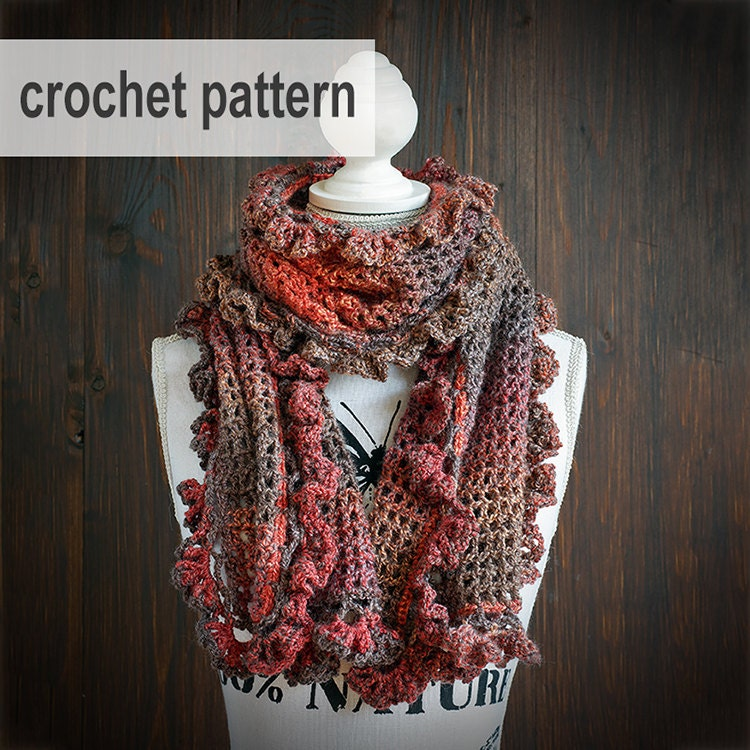 CROCHET PATTERN Crochet scarf with ruffles wool shawl