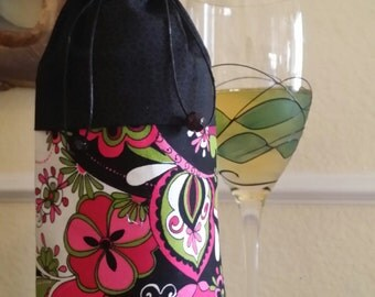Deluxe Wine Bag-Flower Power Collection (Hot Pink n' Black)
