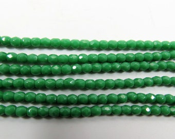 "3mm Bright Green Faceted Fire Polished Czech Glass beads.  One 16"" Strand.  PFP3mm004"