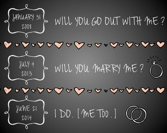 "PRINTABLE Chalkboard Anniversary Dates Sign ""I Do, Me Too"" - Custom Printable, Various Sizes"
