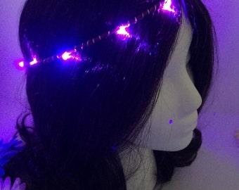 Purple LED festival rave halo crown