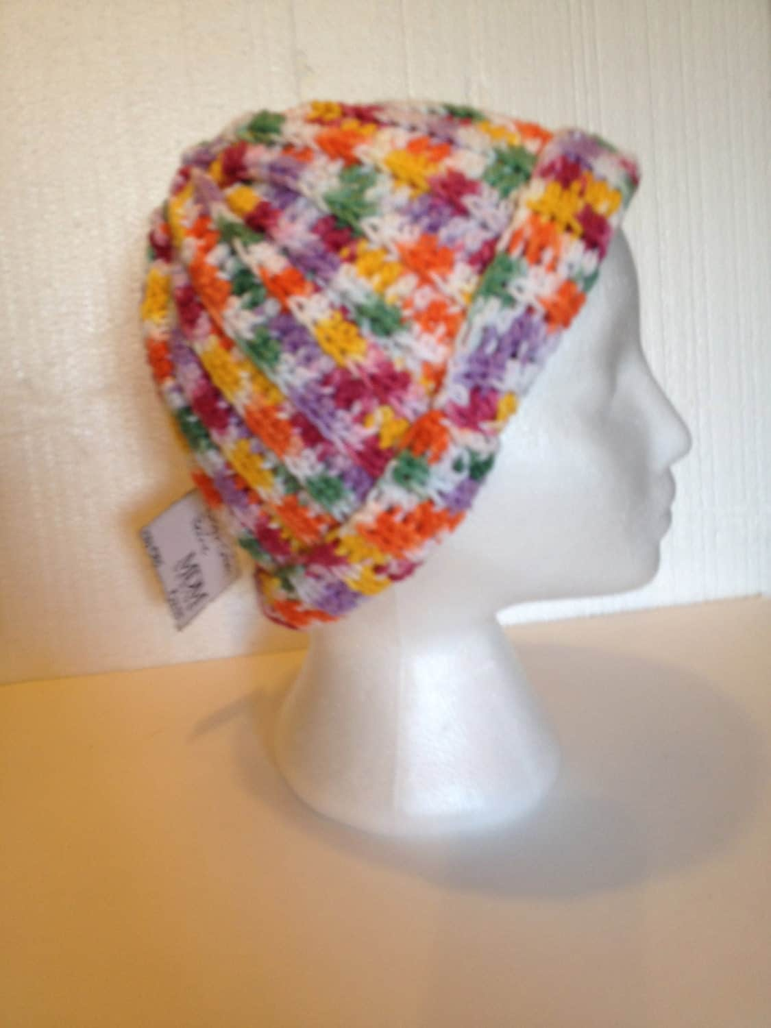 Free Crochet Pattern Multi Colored Hat : Bright Multi-colored Crochet Hat Adult sized 100% Cotton