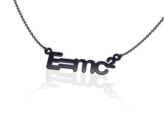 Science jewelry E=MC2  science necklace -sterling silver necklace mass energy equivalence sterling silver necklace silver oxidized jewelry