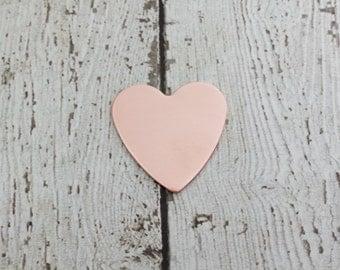 Copper Heart Stamping Blanks - 27mm Heart Blank  - 20G Copper Heart