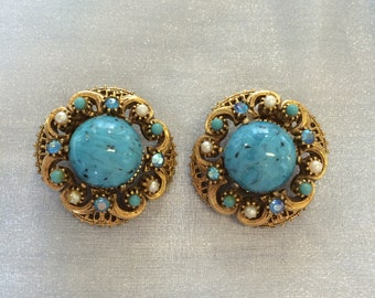Vintage Signed Florenza Faux Turquoise and Pearl Clip Earrings