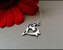 Silver Music Note Necklace -  Treble Clef Bass Clef Necklace  - Bass Cleff - Treble Cleff