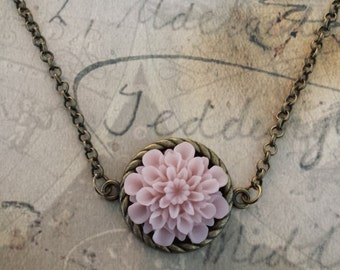 Antique Inspired Dusty Rose Chrysanthemum Necklace