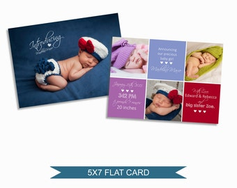 Birth Announcement Card Template - 5x7 Digital Photography Photoshop File - Template for Photographers -NC05 - INSTANT DOWNLOAD