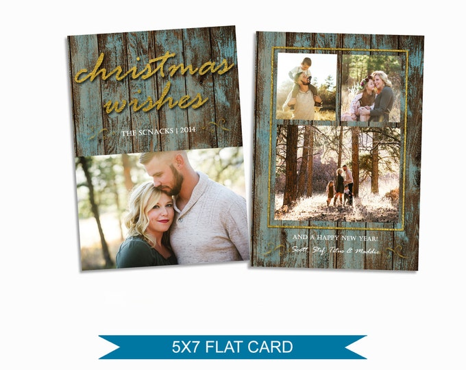 Rustic Christmas Card Template - 5x7 Photo Card - Photoshop Template - INSTANT DOWNLOAD or Printable - CC05