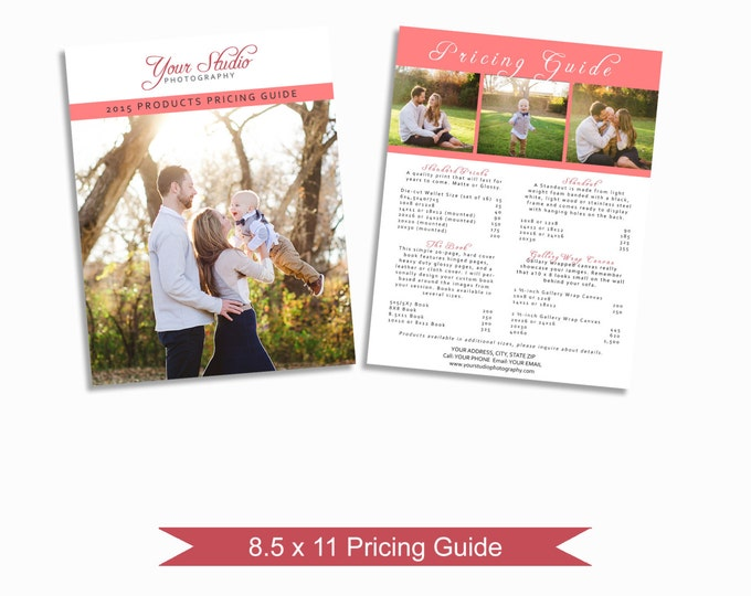 Photographer Price List - Photoshop Pricing Guide Template - Marketing Materials - Graphic Design Templates - Photography Branding - LC02