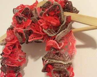 Hand Knitted Ruffled Scarf - Pink, Coral & Brown