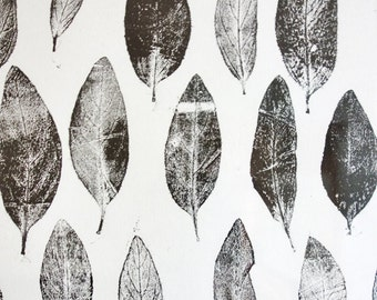 Poster, A monoprint of 'Lysimachia punctata' leaves from my garden. Completely hand-made.