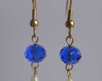 Gold sapphire and pearl earrings