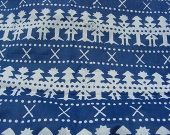 Czech handmade Indigo block print Cotton, traditional fabric