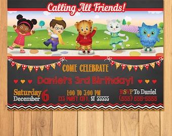 Daniel Tiger Invitation Chalkboard * Daniel Tiger Birthday * Daniel Tiger Invite * Daniel Tiger Party Favors * Daniel Tiger Printables