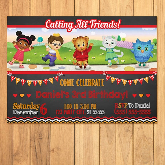 Daniel Tiger Invitation Chalkboard * Daniel Tiger Birthday