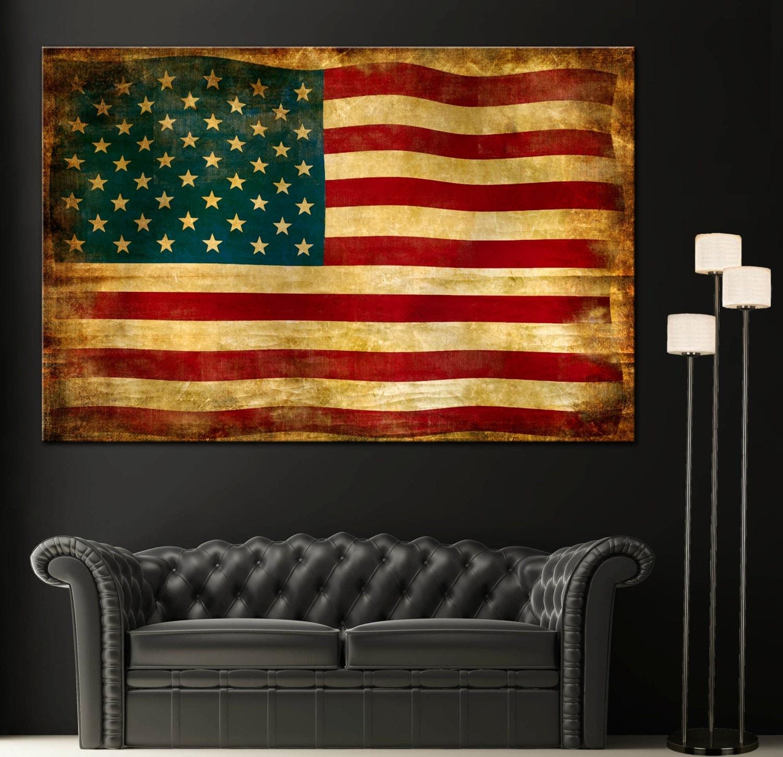 Vintage American Flag Home Decor Wall Art Canvas Giclee Print