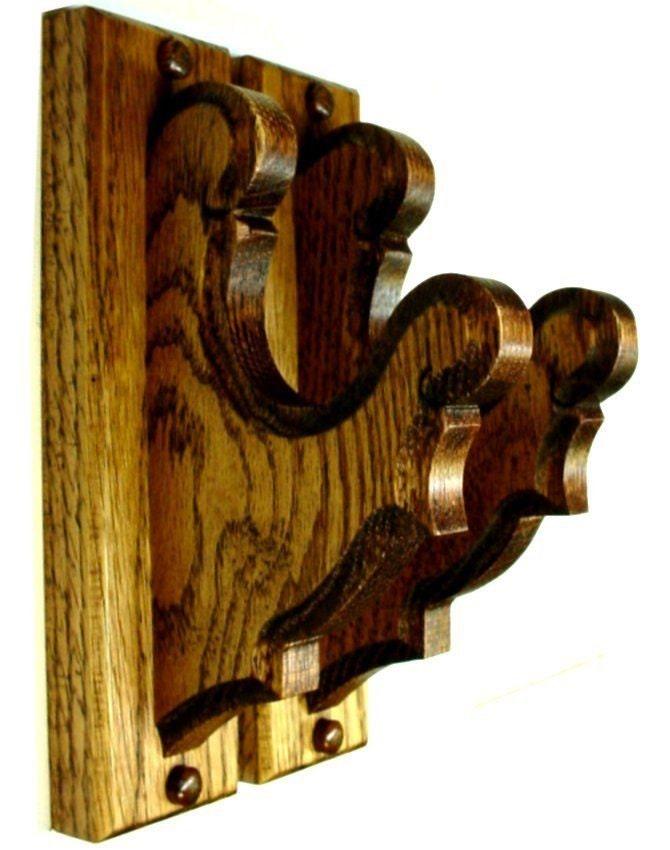 Oak Gun Rack Hangers Antique Rifle Shotgun Wall Mount Wooden