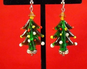 Glass and Crystal Christmas Tree Earrings