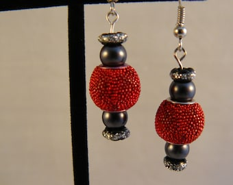 Red Textured Drop Earrings