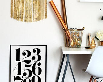 Numbers Printable Poster - Nursery Number Print - Scandinavian Number Poster - 1 2 3 4 5 6 7 8 9 - Affiche Scandinave - 50x70 cm - A4