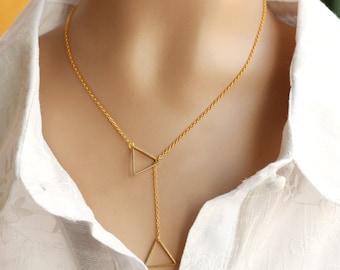 Triangle Necklace, brass triangle, geometric jewelry, brass geometry necklace
