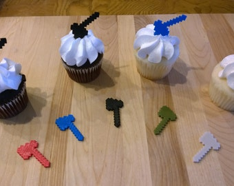 Minecraft Inspired MC Axe CupCake Toppers