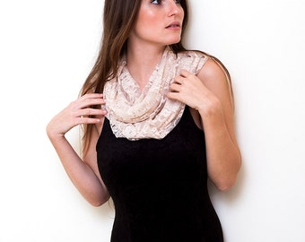 Beige lace infinity scarf with 4 wearing options- shawl, shrug, crisscross and scarf (CL112)