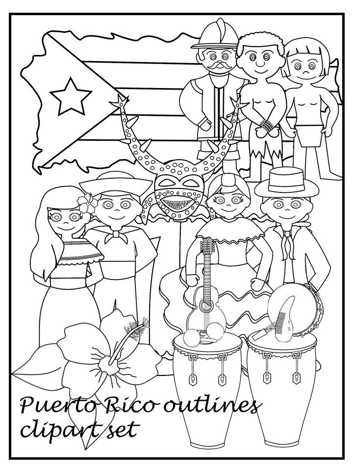 Puerto Rico Black and white clipart set