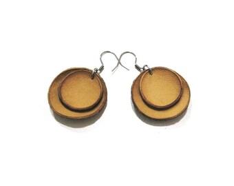 Mustard yellow leather earrings, round earrings, simple dangle earrings, leather jewelry