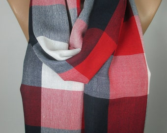 Plaid Pashmina Scarf Winter Spring Scarf Red Navy Blue Scarf Shawl Men Women Fashion Accessories Christmas Gift Ideas For Her For Him