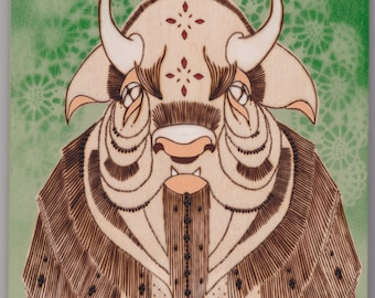 The Wood Bison | wood burned wall art | mini painting