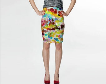 Pencil Skirt, Abstract Art Skirt, Colorful Skirt, Red Blue Yellow Printed Skirt, Fitted Skirt, Womens Clothing, Wearable Art, Short Skirt