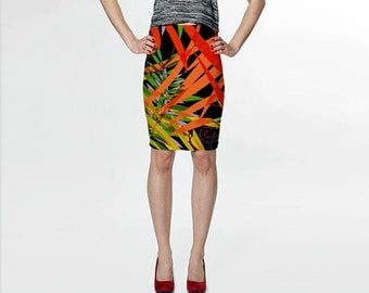 Black and Orange Skirt, Pencil Skirt, Red and Black Skirt, Womens Skirts, Colorful Skirt, Knee Length Skirt, Womens Clothes, Wearable Art