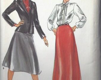 Uncut Butterick Pattern # 3327 1980's Evan-Picone Jacket Blouse Skirt