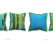 Modern Scrappy Quilted Pillow Set in Greens and Blues