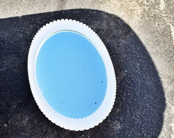 Vintage White Painted Mid Century Oblong Wood Starbust Mirror