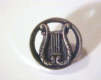 Four silver metal Lyre openwork Buttons Medium size