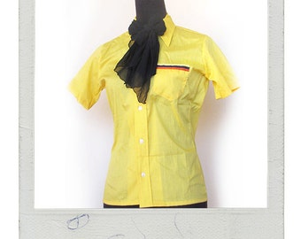 Vintage 70's Yellow Dress Shirt - Size Extra Small