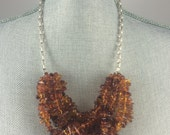 Elegant Baltic Amber, Sterling Silver Statement Necklace, 5 Strand, Heavy Sterling Silver Box Chain