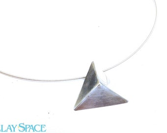 Pyramid Pendant. Triangle Silver Necklace. Silver Tribal Necklace. Stevie Nicks Jewelry. Egyptian Pyramid Necklace. Pyramid Pendant.