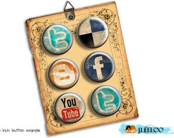 Digital collage WEB CIRCLE 1.313 inch button size social web button machine magnet stickers pendant instant download printable - tn220